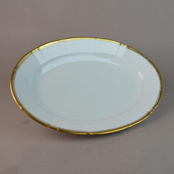 Fad, ovalt. nr. 18. 25 cm. Offenbach med guld.