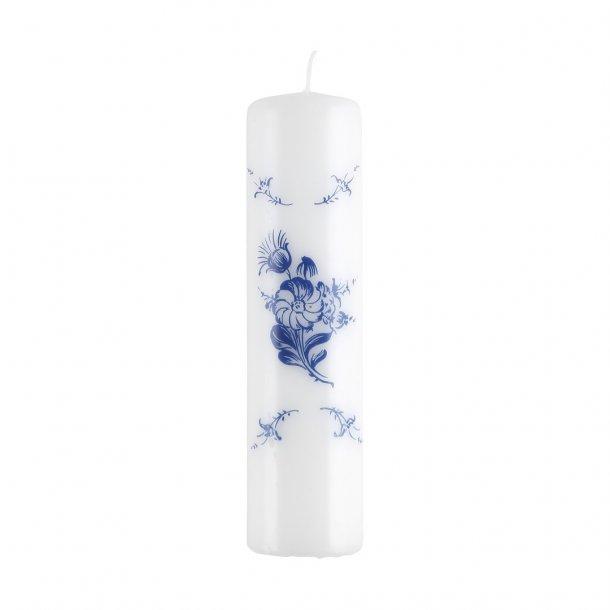 Bloklys. 20 cm. Blå Blomst