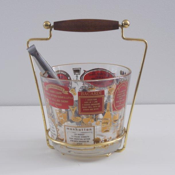 Isspand i glas med opskrifter. 22 cm.