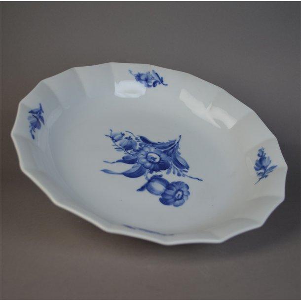 Kagefad, rundt. nr. 8529. 26,5 cm. Blå Blomst, kantet.