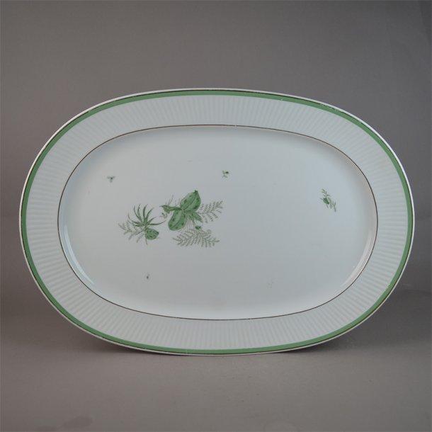Fad. ovalt. 14057. 38 cm. Grøn Melodi. Royal Copenhagen.