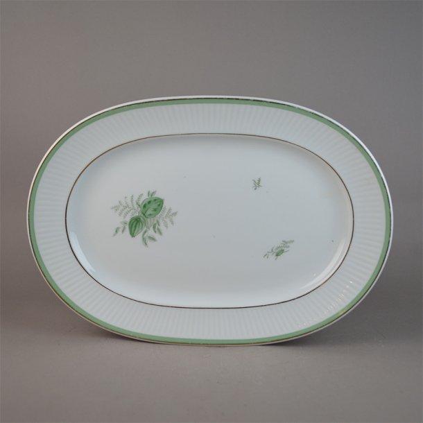 Fad. ovalt. 14055. 28 cm. Grøn Melodi. Royal Copenhagen.