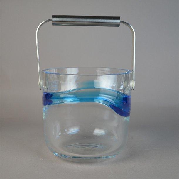 Isspand. 12,5 cm Blå Time glas. Holmegaard Glasværk.
