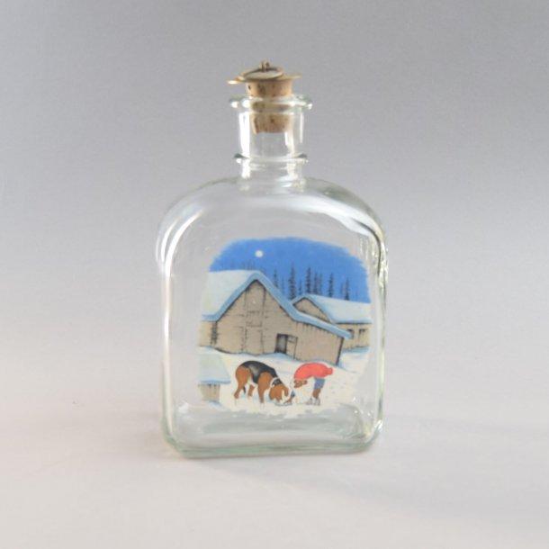 Dramflaske. Nisse og hund. 70 cl. Holmegaard Glasværk.