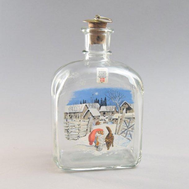 Dramflaske. Nisse og kat. 70 cl. Holmegaard Glasværk.
