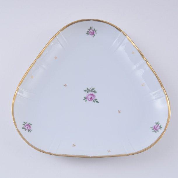 Asiet, trekant. nr. 40. 23 cm. Roselil. Bing og Grøndahl.